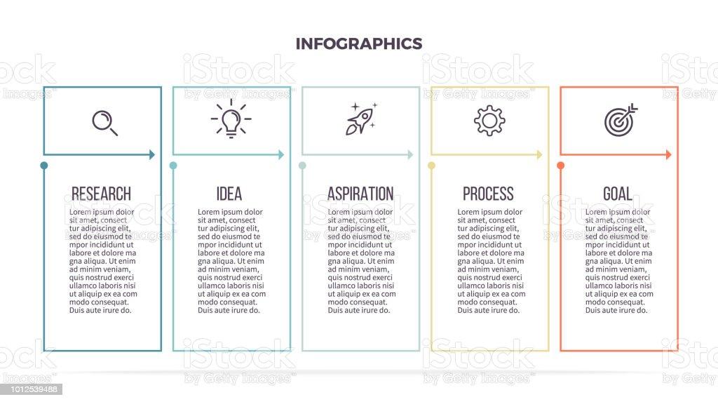 Infografías negocios. Mesa informativa con 5 pasos, columna, opciones. Plantilla de vector. Línea editable. - ilustración de arte vectorial