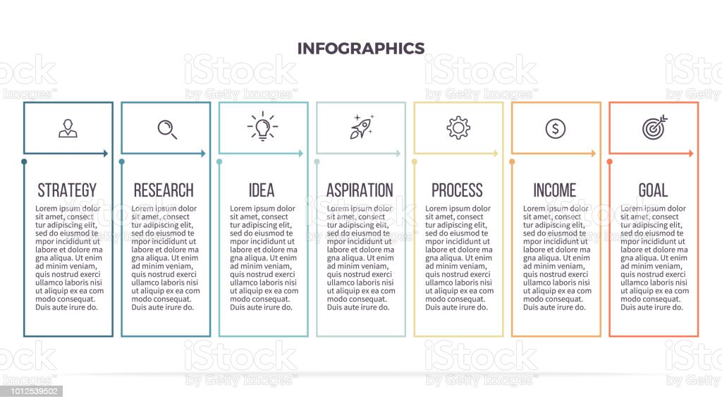 Business Infographics Informational Table With 7 Steps