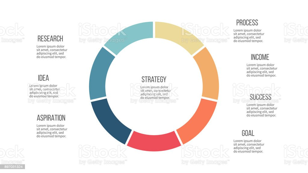 business infographics pie chart with 7 sections vector template