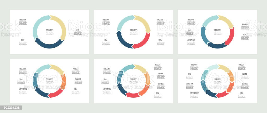 Business infographics. Pie charts with 3, 4, 5, 6, 7, 8 sections. Vector templates. royalty-free business infographics pie charts with 3 4 5 6 7 8 sections vector templates stock illustration - download image now