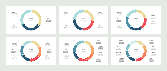Business infographics. Pie charts with 3, 4, 5, 6, 7, 8 sections. Vector templates.