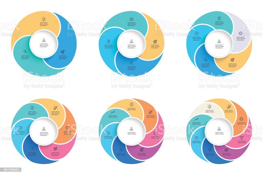 Business infographics. Pie charts with 3, 4, 5, 6, 7, 8 steps, options. Vector infographic templates. vector art illustration