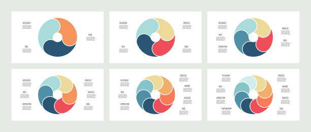 business infographics. pie charts with 3, 4, 5, 6, 7, 8 steps, sections. vector templates. - поперечный разрез stock illustrations