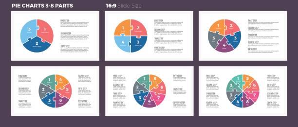 business-infografiken. kreisdiagramme mit 3-8 schritte, abschnitte. - teilabschnitt stock-grafiken, -clipart, -cartoons und -symbole