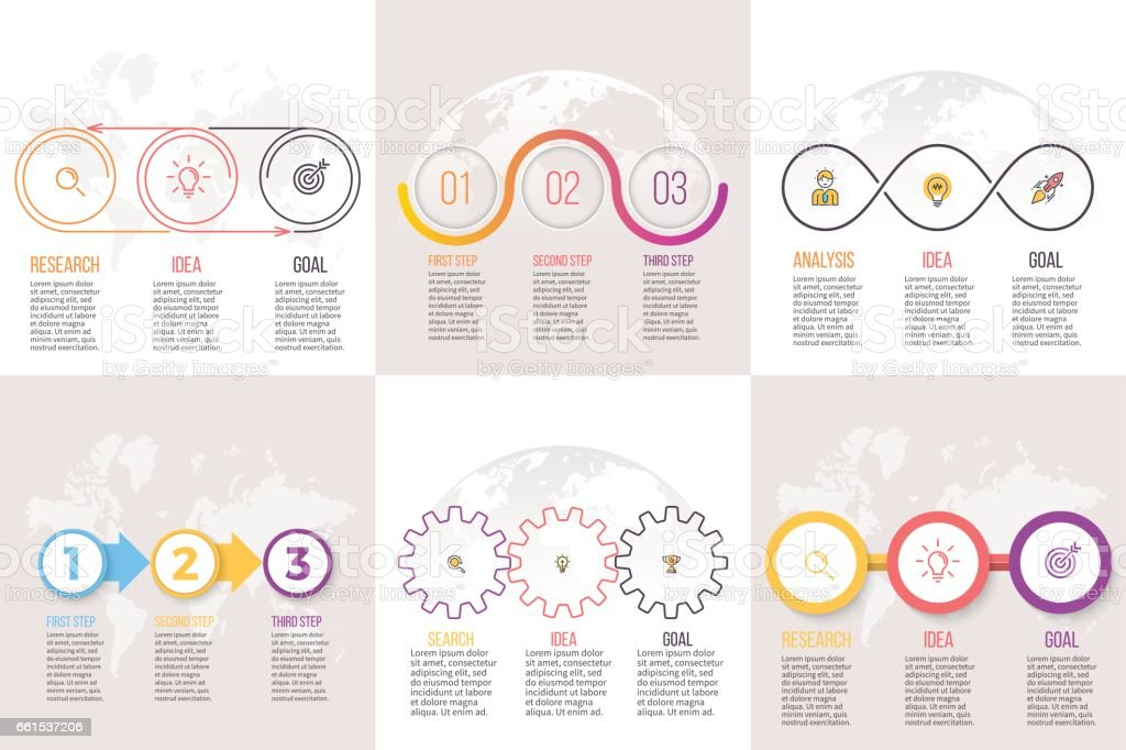 Infografías negocios. Plantillas de presentación con 3 opciones, pasos. - ilustración de arte vectorial