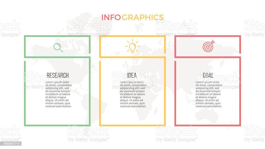 Infografías negocios. Opciones de presentación con 3 columnas. Plantilla de vector. - ilustración de arte vectorial