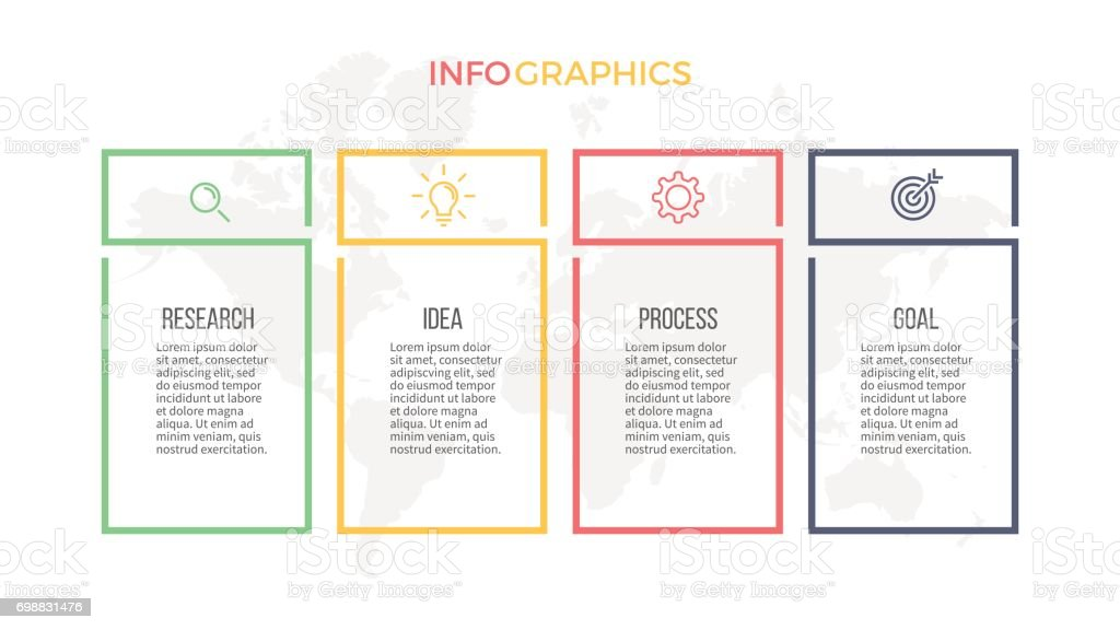 Business infographics. Presentation with 4 columns, options. Vector template. vector art illustration