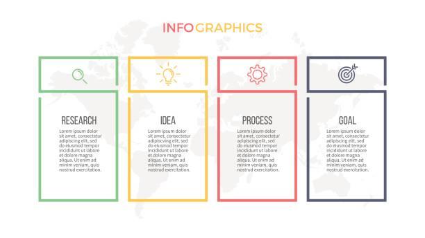 Infografías negocios. Opciones de presentación con 4 columnas. Plantilla de vector. - ilustración de arte vectorial