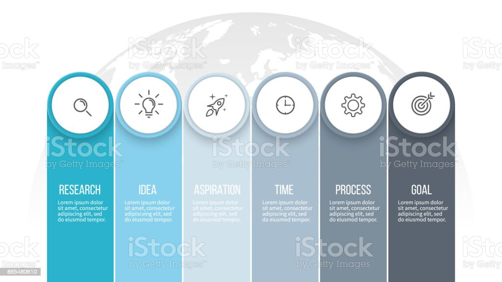 Business infographics. Presentation with 6 columns, options. Vector template. - ilustração de arte vetorial