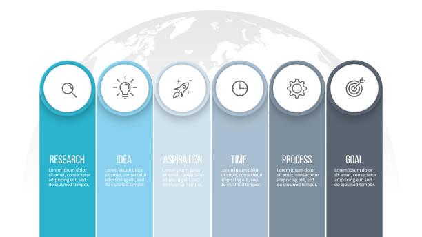 Infografías negocios. Opciones de presentación con 6 columnas. Plantilla de vector. - ilustración de arte vectorial