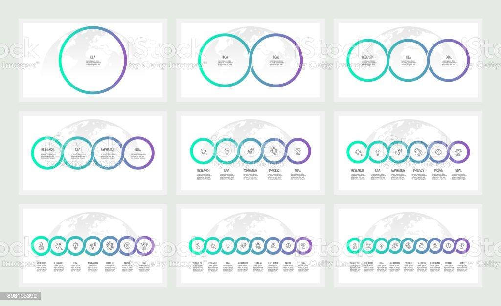 Infografías negocios. Presentaciones con 1, 2, 3, 4, 5, 6, 7, 8, 9 círculos, opciones. Plantillas vectoriales. - ilustración de arte vectorial