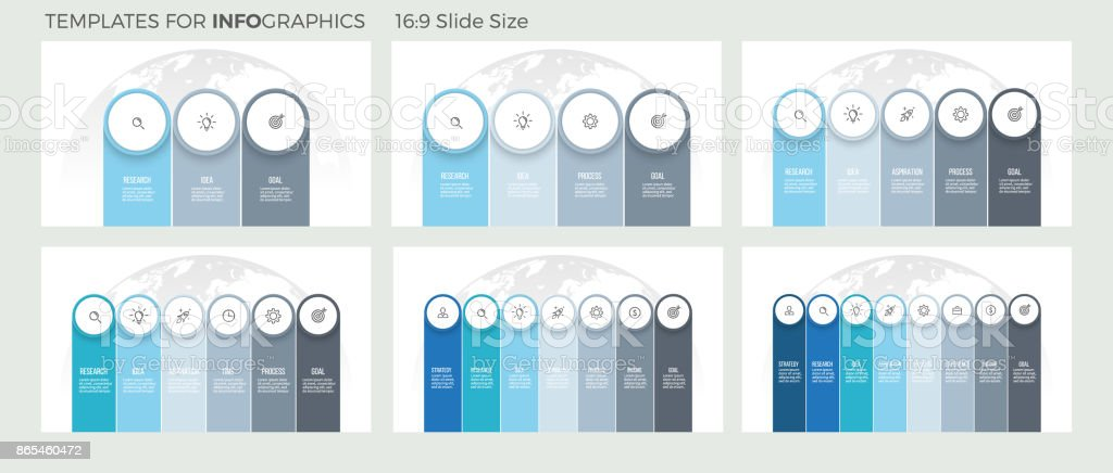 Business infographics. Presentations with 3, 4, 5, 6, 7, 8 steps, columns, options. Vector template. vector art illustration
