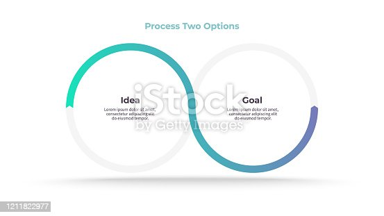istock Business infographics. Process with 2 steps, options, circles. Vector template. 1211822977
