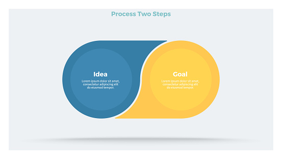 Business infographics. Process with 2 steps, options, circles. Vector template.