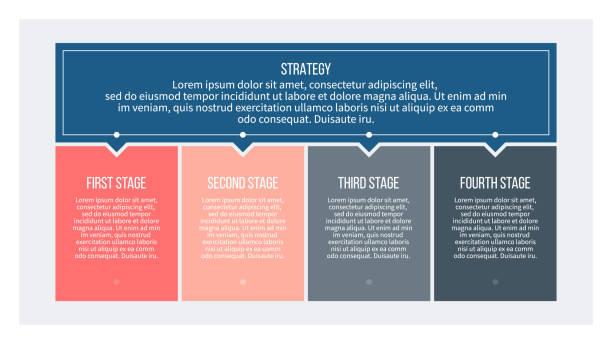 ilustraciones, imágenes clip art, dibujos animados e iconos de stock de infografías de negocios. proceso con 4 pasos, opciones, columnas. plantilla vectorial. - infografías