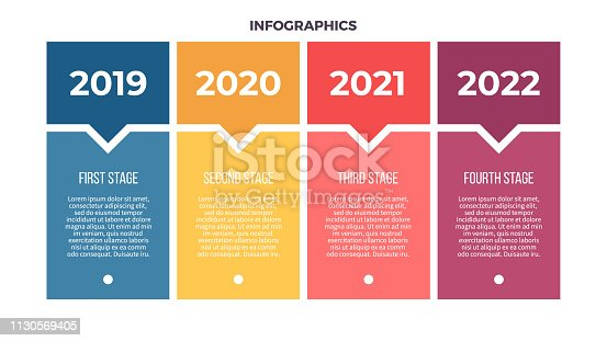 Business infographics. Process with 4 steps, options. Vector template.