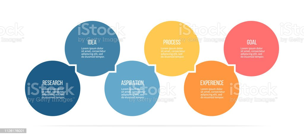 Business infographics. Process with 6 steps, options, circles. Vector template. royalty-free business infographics process with 6 steps options circles vector template stock illustration - download image now