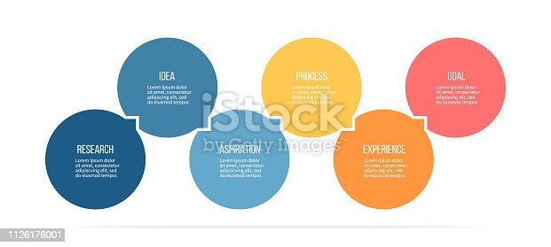 Business infographics. Process with 6 steps, options, circles. Vector template.