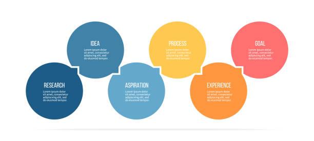 Business infographics. Process with 6 steps, options, circles. Vector template. - ilustração de arte vetorial