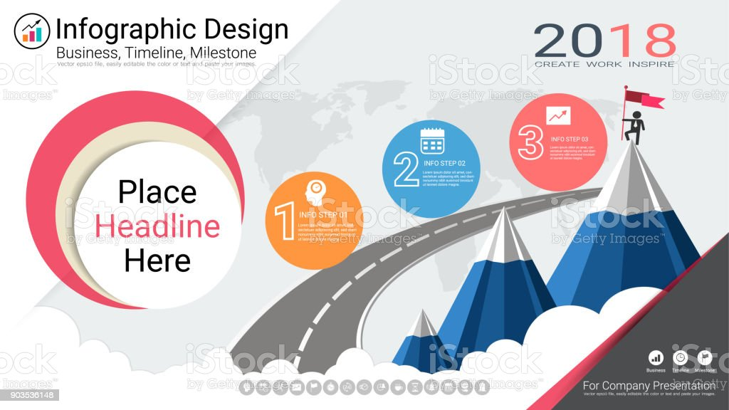Business infographics report milestone timeline or road map with business infographics report milestone timeline or road map with process flowchart 3 options strategic ccuart Images