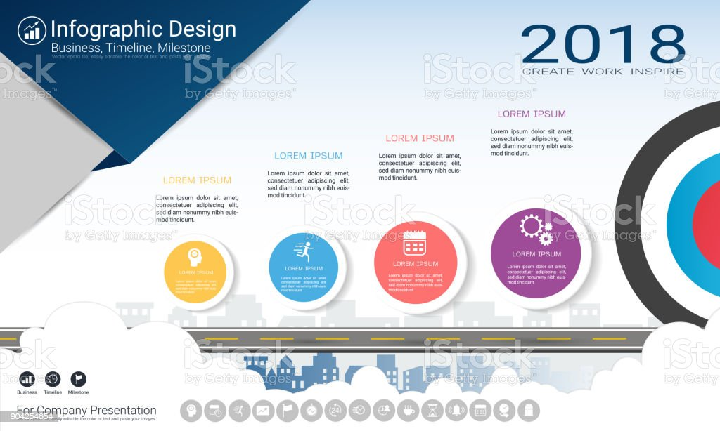 business infographics report milestone timeline or road map with
