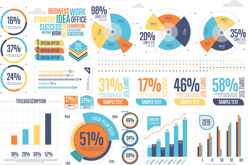 Vetores de Business Infographics Set With Different Diagram e mais imagens de Abstrato