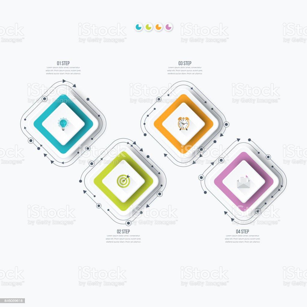 Geschäft Infografiken Vorlage 4 Schritte Mit Quadrat Stock Vektor ...