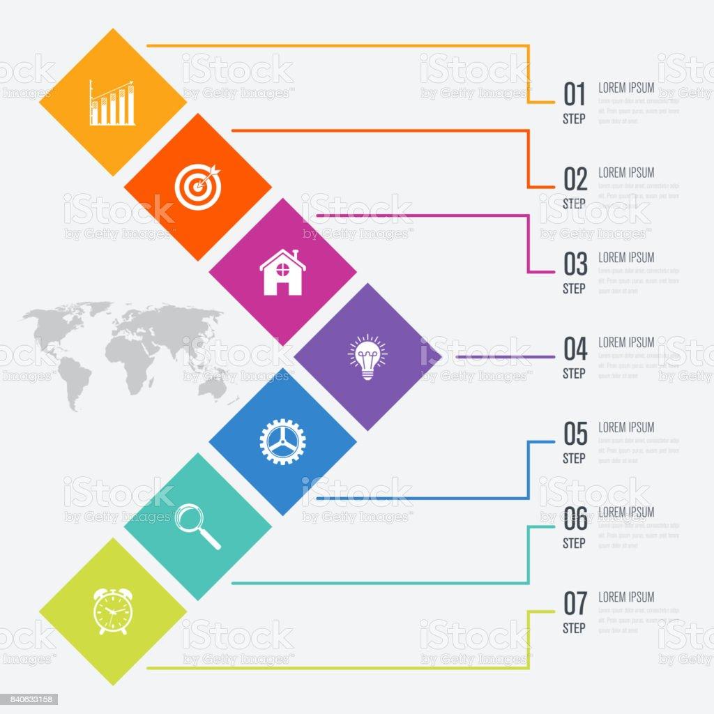 Geschäft Infografiken Vorlage 7 Schritte Mit Quadrat Stock Vektor ...