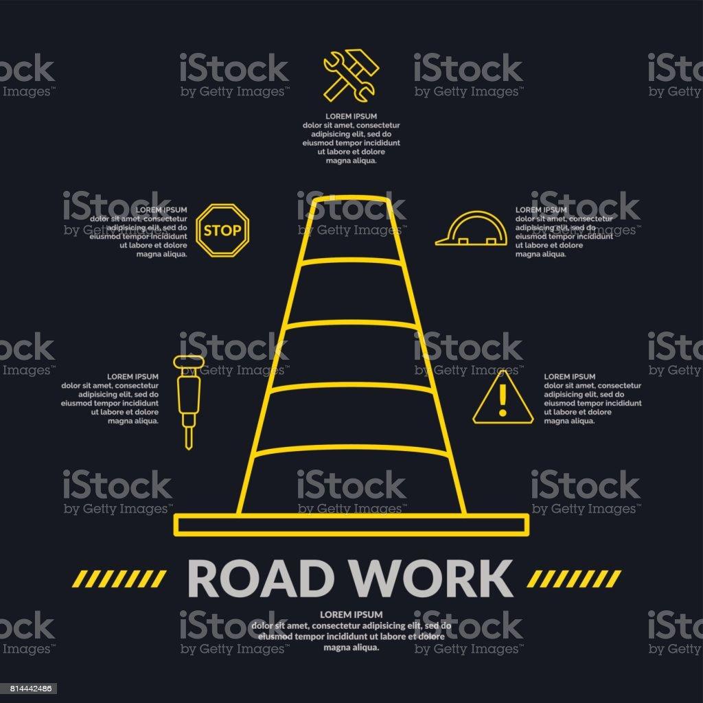 Business-Infografiken-Vorlage für Text und Informationen Straße arbeiten. Editierbare Datei – Vektorgrafik