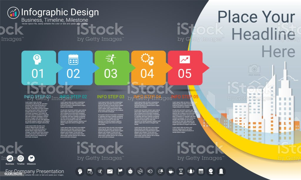Business infographics template, Milestone timeline or Road map with Process flowchart 5 options, Strategic plan to define company values, Scheduling in project management to make facts and statistics. - ilustração de arte vetorial