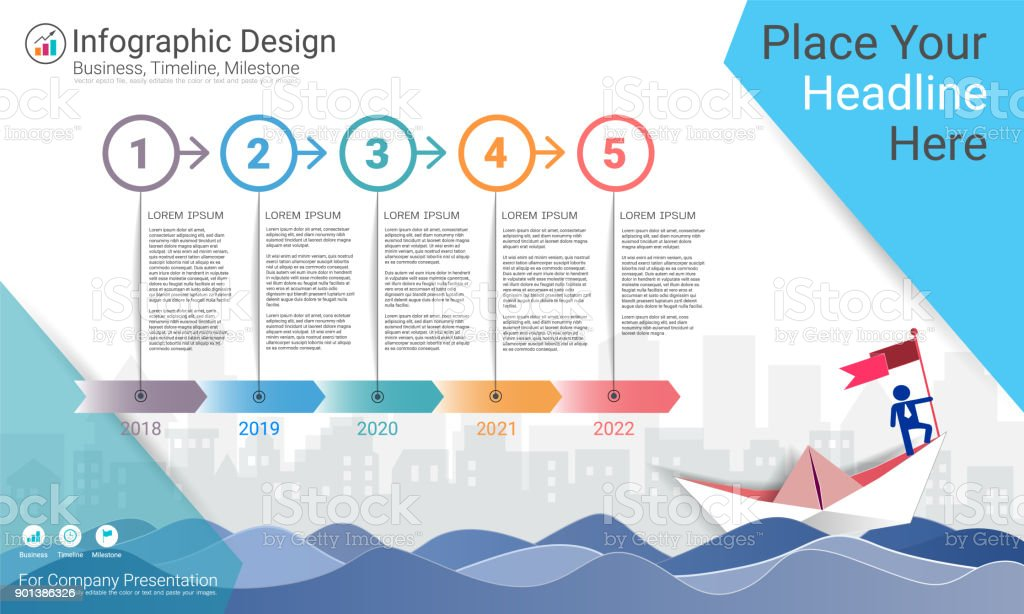 business infographics template milestone timeline or road map with process flowchart 5 options strategic