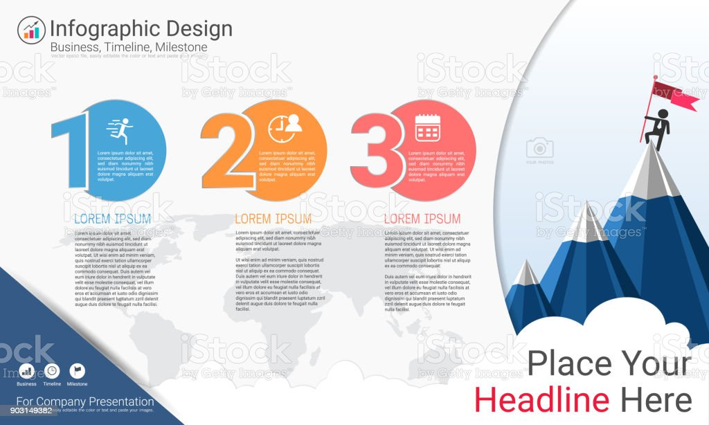 Business Infographics Template Milestone Timeline Or Road ... on