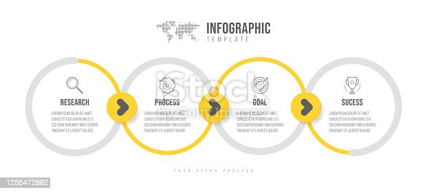 Business infographics template. Timeline with 4 arrow steps, four number options. Vector element