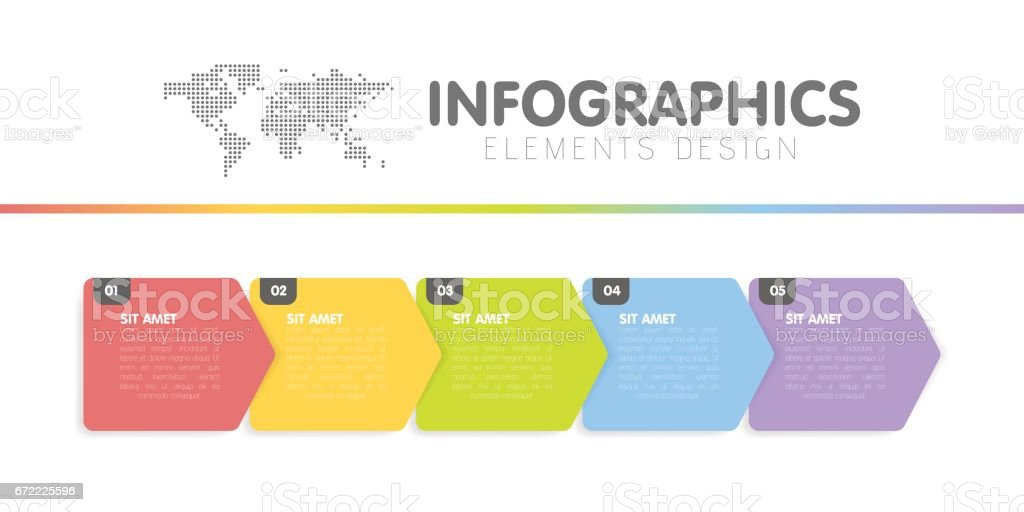 Business infographics template. Timeline with 5 arrow steps, five number options. Vector element. vector art illustration
