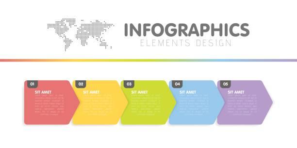 ilustraciones, imágenes clip art, dibujos animados e iconos de stock de plantilla de infografías de negocios. línea de tiempo con 5 pasos de la flecha, cinco número de opciones. elemento del vector. - infografías para diagramas de flujo