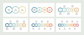 Business infographics. Timeline with 3, 4, 5, 6, 7, 8 steps, options, circles. Vector template.