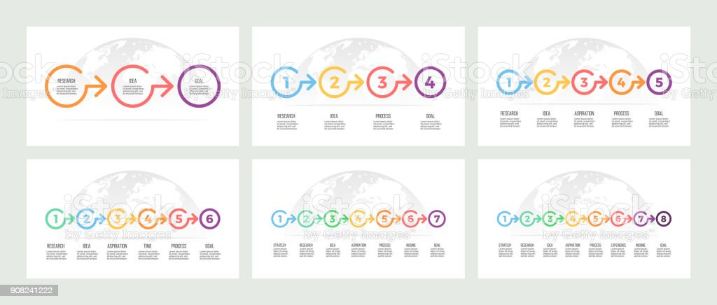 Business infographics. Timeline with 3, 4, 5, 6, 7, 8 steps, options. Vector template. vector art illustration