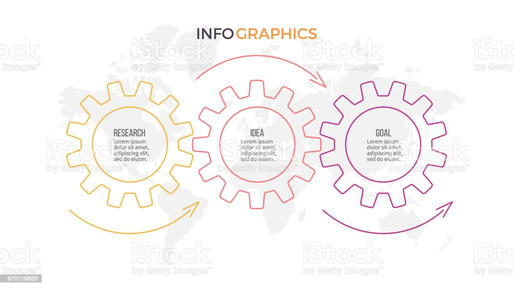 Business infographics. Timeline with 3 steps, gears. royalty-free business infographics timeline with 3 steps gears stock illustration - download image now