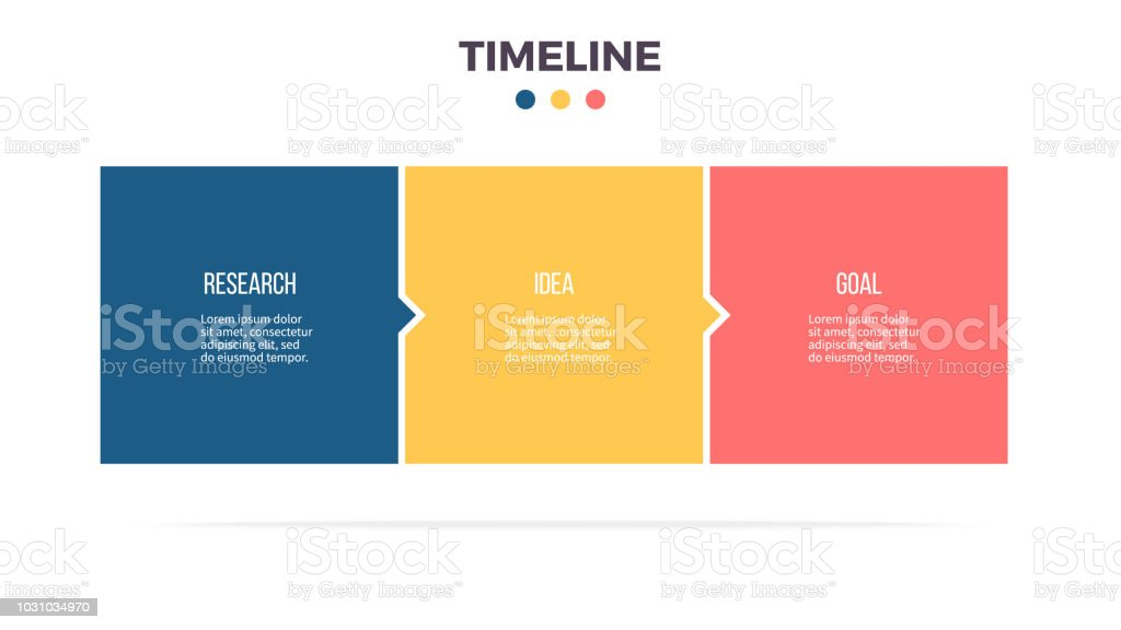 Business infographics. Timeline with 3 steps, options, squares. Vector template. vector art illustration