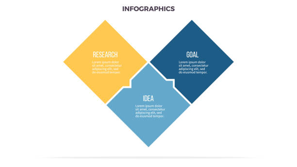 Business infographics. Timeline with 3 steps, options, squares. Vector template. - illustrazione arte vettoriale