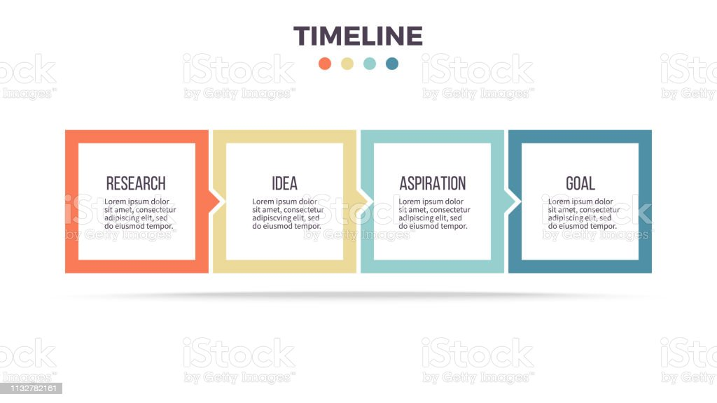 Business infographics. Timeline with 4 steps, options, squares. Vector template. royalty-free business infographics timeline with 4 steps options squares vector template stock illustration - download image now
