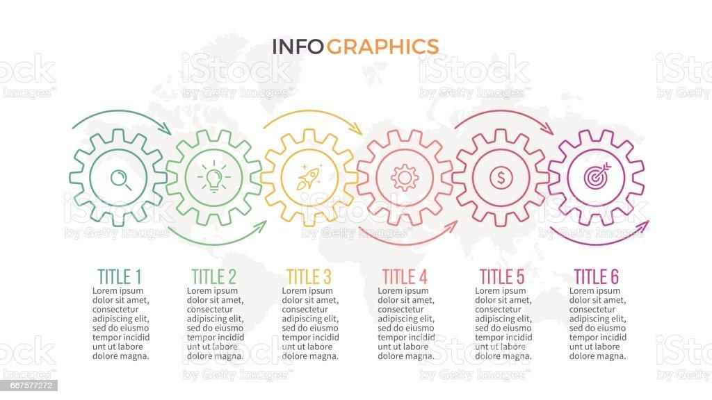 Business infographics. Timeline with 6 gears, cogwheels vector art illustration