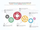 Business infographics. Timeline with 6 steps, gears, cogwheels.