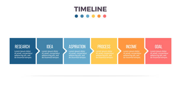 Business infographics. Timeline with 6 steps, options, squares. Vector template. Business infographics. Timeline with 6 steps, options, squares. Vector template. infographic stock illustrations