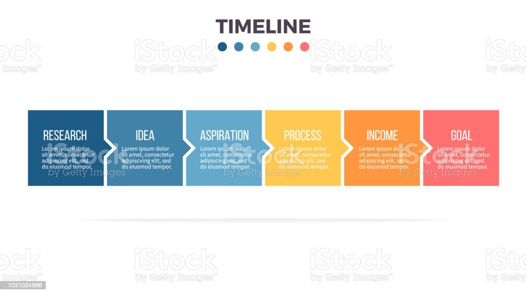 Business infographics. Timeline with 6 steps, options, squares. Vector template. vector art illustration