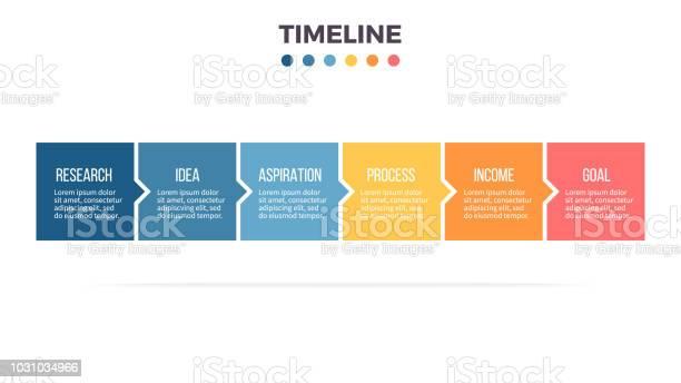 Vetores de Infografia De Negócios Linha Do Tempo Com 6 Etapas Opções Praças Modelo De Vetor e mais imagens de Computação Gráfica