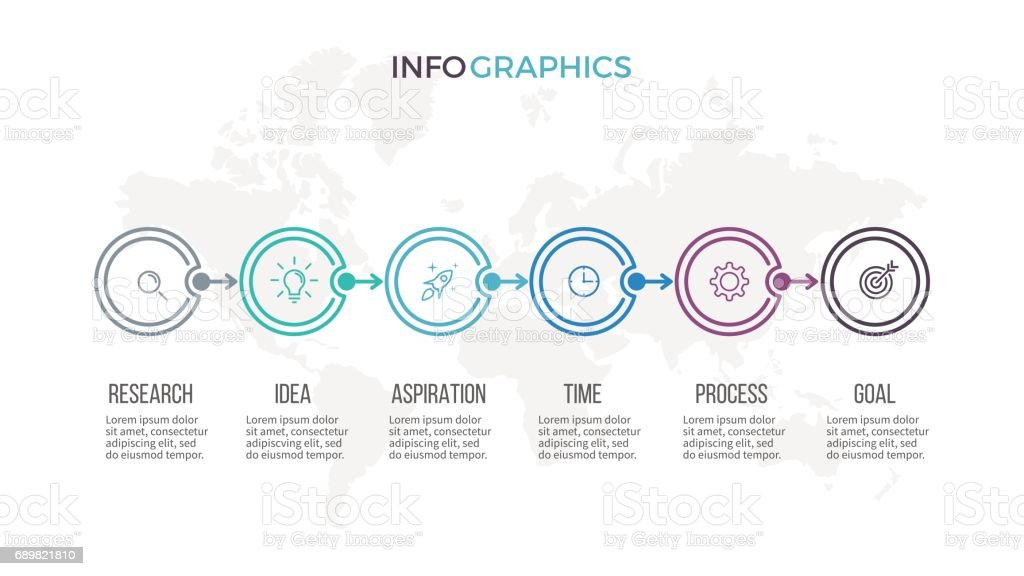 Business infographics. Timeline with 6 steps, options. Thin line vector template. - ilustração de arte vetorial