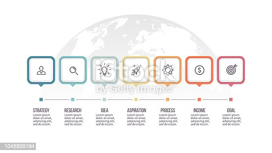 Business infographics. Timeline with 7 steps, options, squares. Vector template.