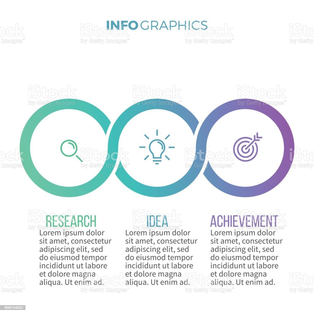 Business infographics. Timeline with with 3 options, circles. vector art illustration