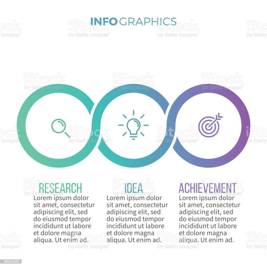 Infografías negocios. Línea de tiempo con 3 opciones, círculos. - ilustración de arte vectorial